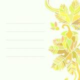 Κάρτα με τα floral σχέδια Στοκ εικόνα με δικαίωμα ελεύθερης χρήσης