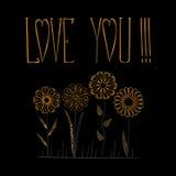 Κάρτα με την ΑΓΑΠΗ κειμένων ΕΣΕΙΣ και χρυσό λουλούδι όπως το mandala Στοκ Φωτογραφίες