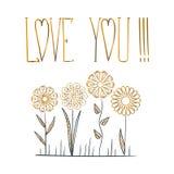 Κάρτα με την ΑΓΑΠΗ κειμένων ΕΣΕΙΣ και χρυσό λουλούδι όπως το mandala Στοκ Εικόνες