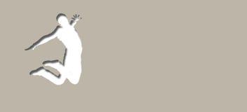 Κάρτα με την εικόνα ενός πηδώντας ατόμου Στοκ Φωτογραφία