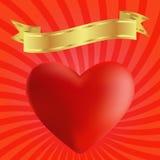 Κάρτα με την καρδιά και τη χρυσή κορδέλλα Στοκ Εικόνες