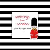 Κάρτα με την τετραγωνική θέση για το κείμενο με τα λωρίδες και το φύλακα του πύργου του Λονδίνου γατών Στοκ φωτογραφία με δικαίωμα ελεύθερης χρήσης