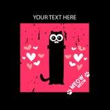 Κάρτα με τη γάτα και τις καρδιές Στοκ φωτογραφία με δικαίωμα ελεύθερης χρήσης