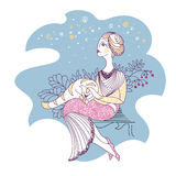 Κάρτα με τη γυναίκα και τη γάτα Στοκ φωτογραφία με δικαίωμα ελεύθερης χρήσης