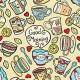 Κάρτα με τη καλημέρα εξαρτημάτων και κειμένων τσαγιού doodle Απεικόνιση αποθεμάτων
