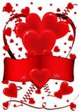 Κάρτα με τις καρδιές και την κορδέλλα Στοκ Εικόνες