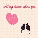 Κάρτα με τις καρδιές και τις γάτες για την ημέρα του βαλεντίνου επίσης corel σύρετε το διάνυσμα απεικόνισης Στοκ φωτογραφία με δικαίωμα ελεύθερης χρήσης