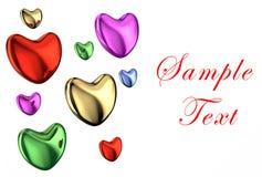 Κάρτα με τις χρωματισμένες καρδιές Στοκ Φωτογραφία