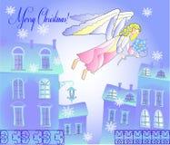 Κάρτα με τον άγγελο στην μπλε πόλη Στοκ εικόνα με δικαίωμα ελεύθερης χρήσης