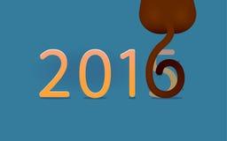 Κάρτα με τον πίθηκο για το νέο έτος 2016 Στοκ Εικόνες
