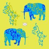 Κάρτα με τους ελέφαντες Στοκ εικόνα με δικαίωμα ελεύθερης χρήσης
