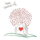 Κάρτα με το αγόρι και το κορίτσι και δέντρο των καρδιών Στοκ εικόνα με δικαίωμα ελεύθερης χρήσης