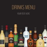 Κάρτα με το διαφορετικό μπουκάλι οινοπνεύματος Ποτά και ποτά οινοπνεύματος Ελεύθερη απεικόνιση δικαιώματος