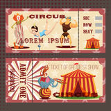 Κάρτα με το εισιτήριο τσίρκων Στοκ φωτογραφίες με δικαίωμα ελεύθερης χρήσης