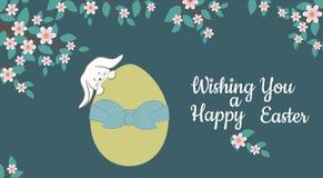 Κάρτα με το λαγουδάκι Πάσχας και το ζωηρόχρωμο διακοσμητικό αυγό επίσης corel σύρετε το διάνυσμα απεικόνισης διανυσματική απεικόνιση