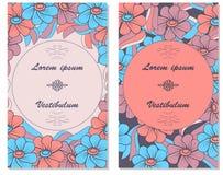 Κάρτα με το λουλούδι Στον κύκλο για τους χαιρετισμούς Στοκ Εικόνες