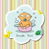 Κάρτα με το λούζοντας μωρό ελεύθερη απεικόνιση δικαιώματος