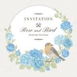Κάρτα με το πουλί και τα τριαντάφυλλα Στοκ Φωτογραφίες