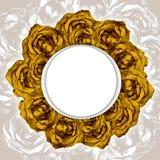 Κάρτα με το πλαίσιο στεφανιών των συρμένων κίτρινων τριαντάφυλλων απεικόνιση αποθεμάτων