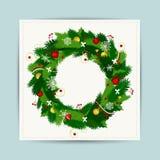 Κάρτα με το στεφάνι Χριστουγέννων για το σχέδιό σας Στοκ φωτογραφία με δικαίωμα ελεύθερης χρήσης