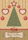 Κάρτα με το χριστουγεννιάτικο δέντρο και το διαστιγμένο υπόβαθρο Στοκ φωτογραφίες με δικαίωμα ελεύθερης χρήσης