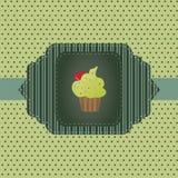 Κάρτα με το cupcake Στοκ Φωτογραφίες