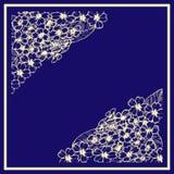 Κάρτα με το primula graphics Βοτανικό σχέδιο Χρυσό λουλούδι στο μπλε υπόβαθρο απεικόνιση αποθεμάτων
