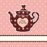 Κάρτα με teapot Στοκ φωτογραφία με δικαίωμα ελεύθερης χρήσης
