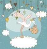 κάρτα μωρών άφιξης ανακοίνω&sigma Στοκ Εικόνες