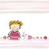 κάρτα μωρών άφιξης doodle που διε Στοκ εικόνα με δικαίωμα ελεύθερης χρήσης