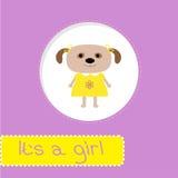 Κάρτα ντους μωρών με το σκυλί. Του ένα κορίτσι Στοκ Εικόνες