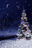 Κάρτα νύχτας Χριστουγέννων τα Χριστούγεννα διακοσμούν τις φρέσκες βασικές ιδέες διακοσμήσεων Στοκ φωτογραφίες με δικαίωμα ελεύθερης χρήσης