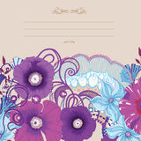 Κάρτα λουλουδιών παπαρουνών, σχέδιο πρόσκλησης 10 eps Στοκ φωτογραφία με δικαίωμα ελεύθερης χρήσης