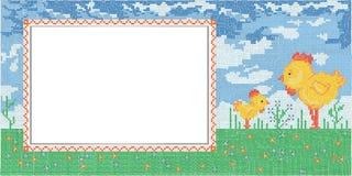 Κάρτα Πάσχας με τη μίμησης διαγώνια βελονιά Στοκ Εικόνα