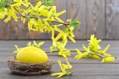 Κάρτα Πάσχας με το κίτρινο αυγό Πάσχας στα λουλούδια φωλιών και άνοιξη Στοκ φωτογραφία με δικαίωμα ελεύθερης χρήσης