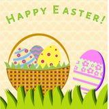 Κάρτα Πάσχας με το καλάθι και τα αυγά ελεύθερη απεικόνιση δικαιώματος
