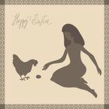 Κάρτα Πάσχας με το κορίτσι και το κοτόπουλο Στοκ Εικόνα