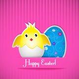 Κάρτα Πάσχας με το κοτόπουλο και το αυγό Στοκ Εικόνες