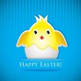 Κάρτα Πάσχας με το κοτόπουλο που εκκόλαψε από το αυγό Στοκ Εικόνα
