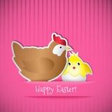 Κάρτα Πάσχας με το κοτόπουλο και το νεοσσό Στοκ Εικόνες