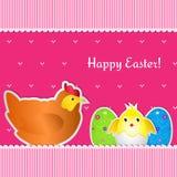 Κάρτα Πάσχας με το κοτόπουλο, νεοσσό και δύο αυγά Στοκ εικόνα με δικαίωμα ελεύθερης χρήσης