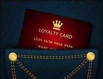 Κάρτα πίστης στην τσέπη τζιν παντελόνι απεικόνιση αποθεμάτων
