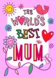 Κάρτα παγκόσμιου καλύτερη Mum ελεύθερη απεικόνιση δικαιώματος