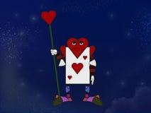Κάρτα παιχνιδιού του χαρακτήρα καρδιών Στοκ Φωτογραφία