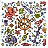 Κάρτα περιπετειών θάλασσας Θαλάσσια συρμένα χέρι διανυσματικά αντικείμενα Διανυσματική απεικόνιση ύφους Doodle διανυσματική απεικόνιση