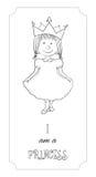 Κάρτα περιλήψεων πριγκηπισσών κινούμενων σχεδίων παιδιών για το χρωματισμό Στοκ Εικόνες