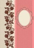 Κάρτα που διακοσμείται εκλεκτής ποιότητας με τις σκιαγραφίες των τριαντάφυλλων Στοκ φωτογραφίες με δικαίωμα ελεύθερης χρήσης