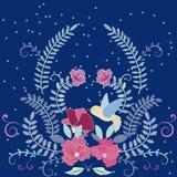 Κάρτα πουλιών και λουλουδιών Στοκ εικόνα με δικαίωμα ελεύθερης χρήσης