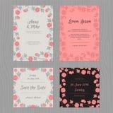 Κάρτα που τίθεται γαμήλια με το λουλούδι Γκρίζο, ρόδινο και μαύρο χρώμα Ελεύθερη απεικόνιση δικαιώματος
