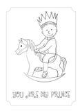 Κάρτα πριγκήπων περιλήψεων κινούμενων σχεδίων παιδιών για το χρωματισμό Στοκ Εικόνες